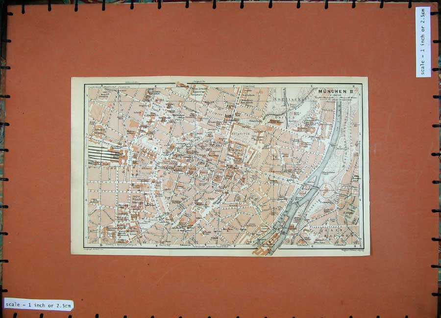 Print 1935 Colour Map Street Plan Munchen Germany Isar River 105D129 Old Original