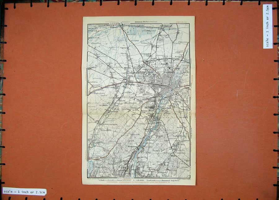 Print 1935 Colour Map Munchen Germany Street Plan Nymphenburg 106D129 Old Original