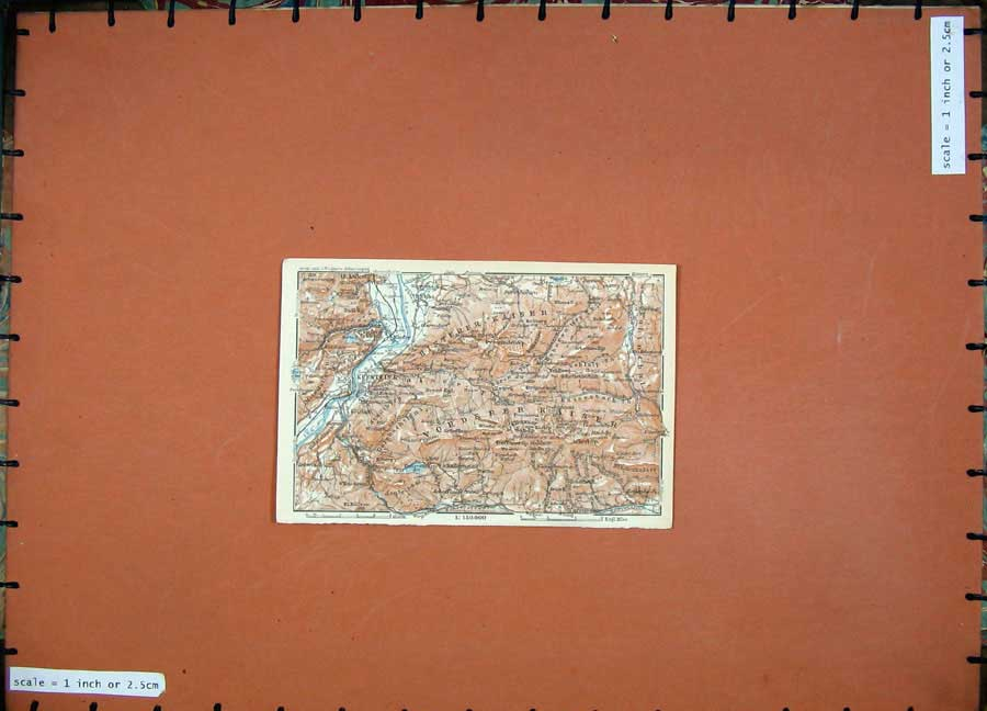 Print 1927 Colour Map Street Plan Kufstein Ebbs Kiefer Tyrol 106D133 Old Original