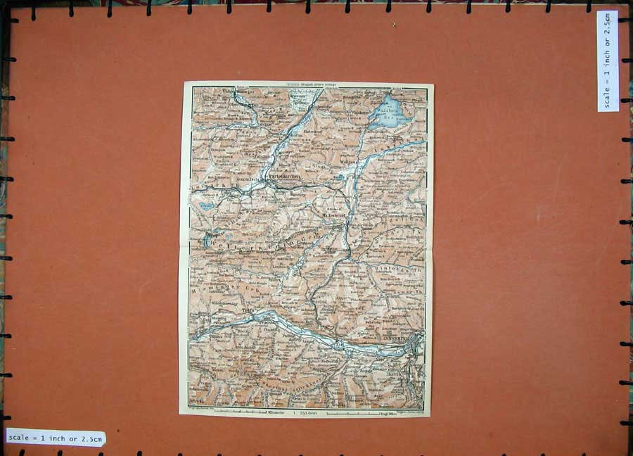Print 1927 Colour Map Tyrol Dolomites Innsbruck Zirl Wallgaus 112D133 Old Original
