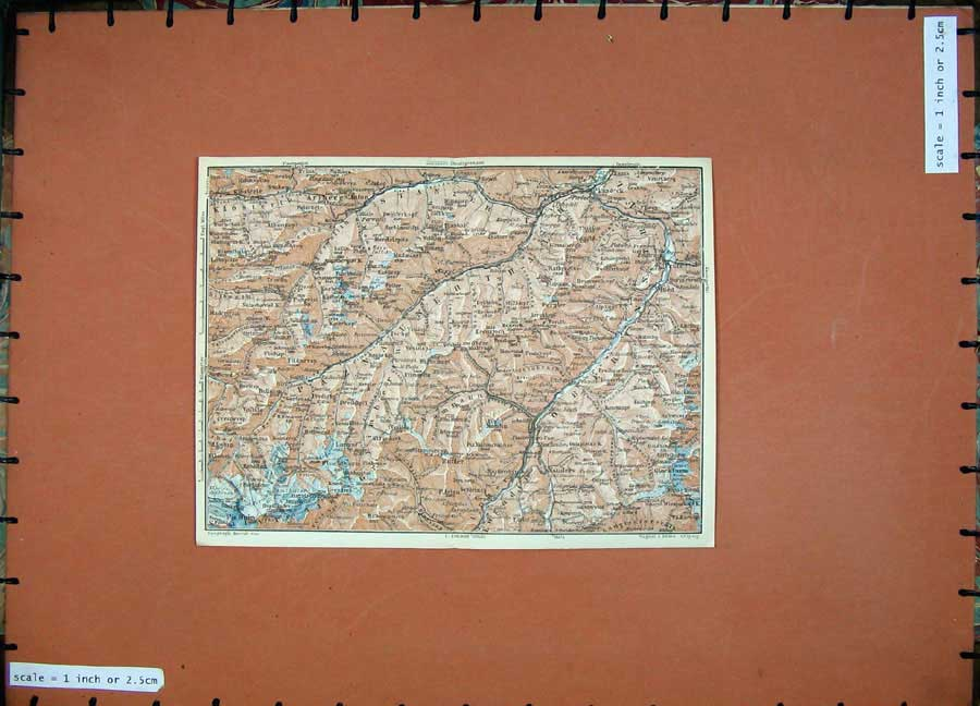 Print 1927 Colour Map Tyrol Dolomites Piz Buin Mountains Ried 117D133 Old Original
