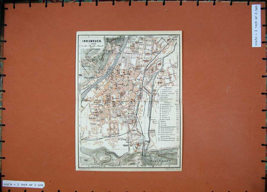 Print 1927 Colour Map Innsbruck Street Plan Wilten Pradl Inn 118D133 Old Original