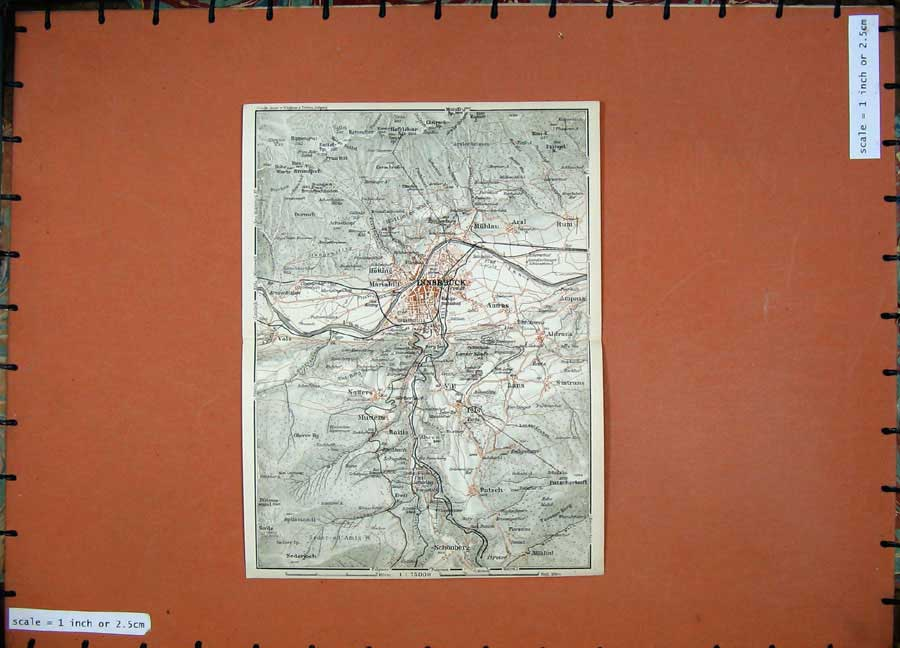 Print 1927 Colour Map Street Map Innsbruck Schonberg Patsch 119D133 Old Original