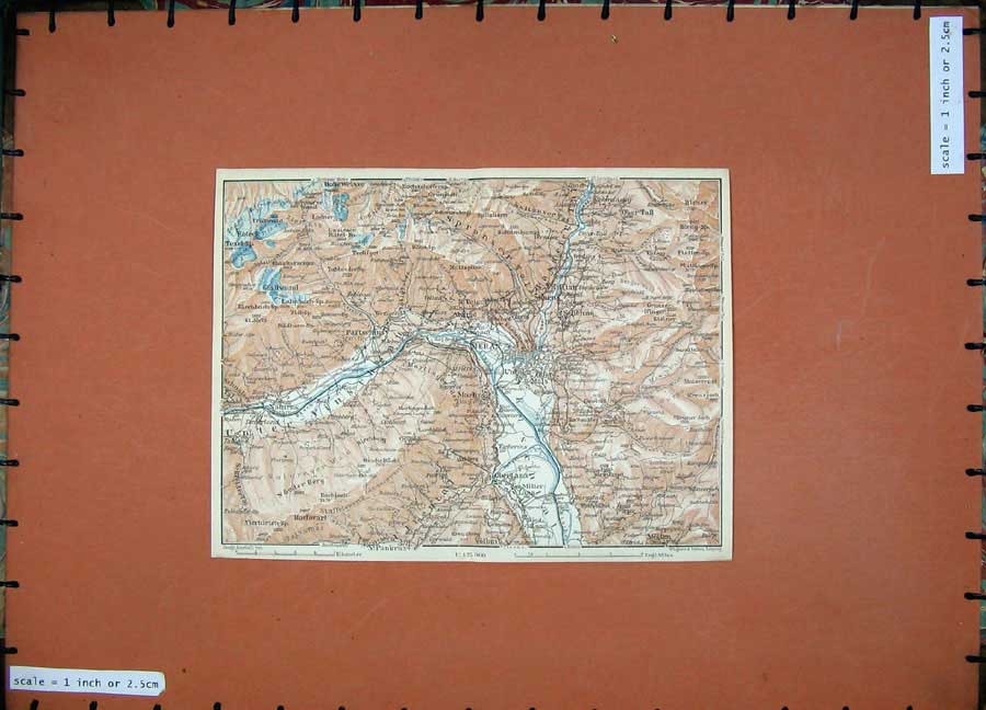 Print 1927 Colour Map Meran Naturns Oberlana Dolomites Tyrol 123D133 Old Original