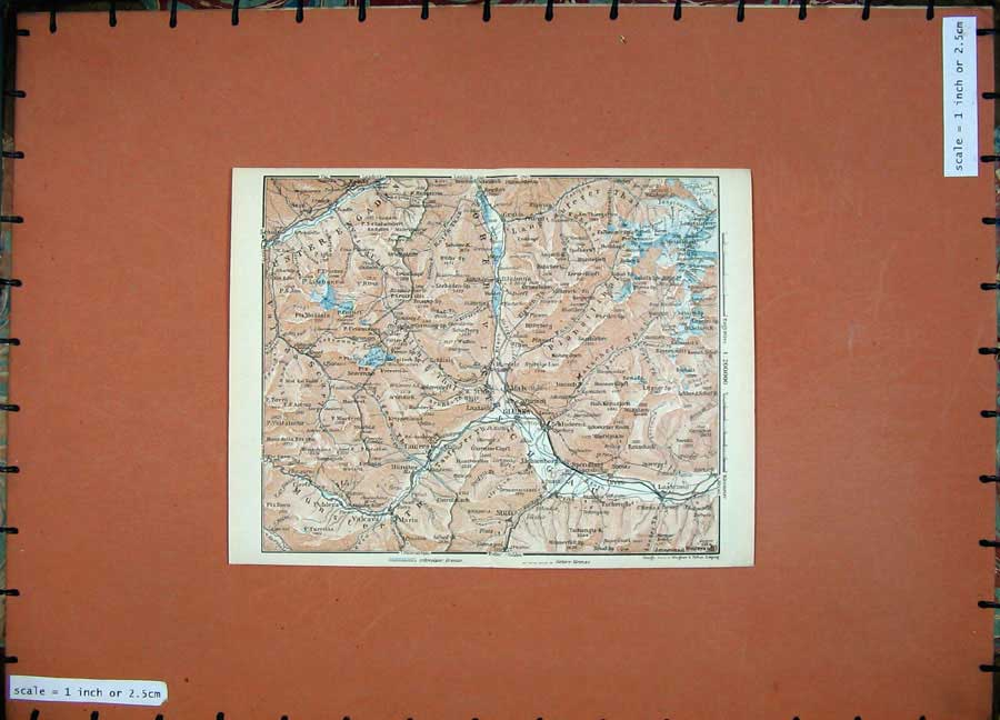 Print 1927 Colour Map Glurns Mals Schuls Tyrol Dolomites 124D133 Old Original
