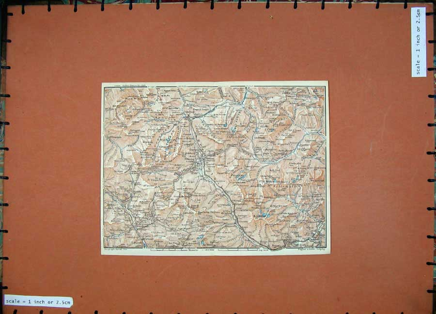 Print 1927 Colour Map Pieve Caprile Tyrol Dolomites Mountains 125D133 Old Original