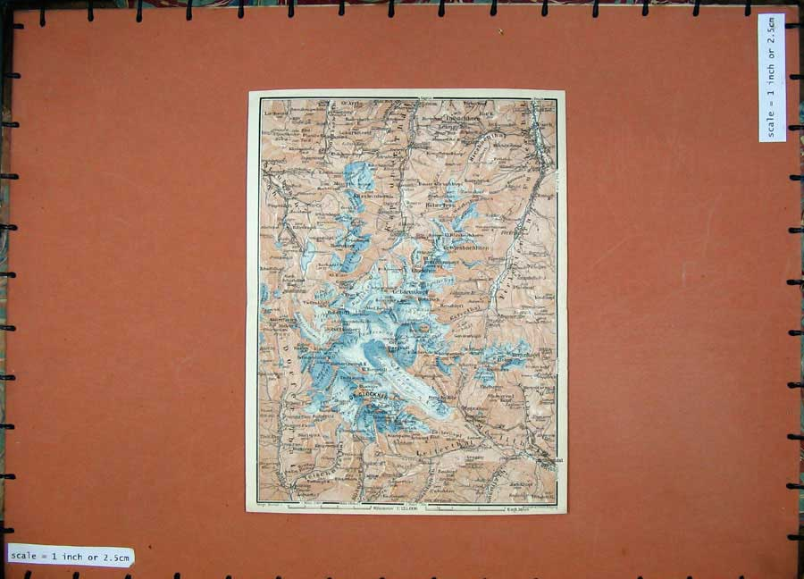 Print 1927 Colour Map Gr-Glockner Tyrol Dolomites Mountains 131D133 Old Original