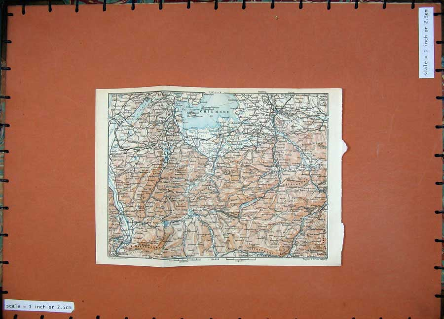 Print 1927 Colour Map Chiemsee Tyrol Dolomites Wendelstein 132Rd133 Old Original