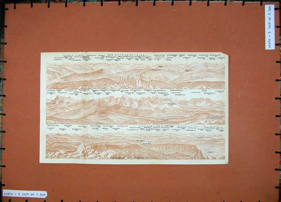 Print 1927 Colour Map Tyrol Dolomites Welschnosen Schlern 138Rd133 Old Original