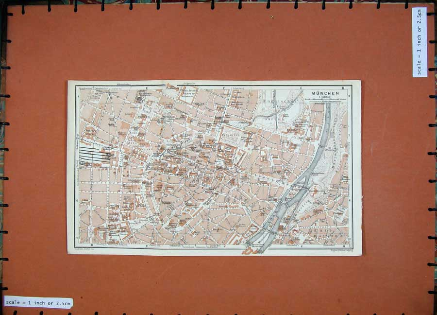 Print 1927 Colour Map Steet Plan Munchen River Isar Museum 145D133 Old Original