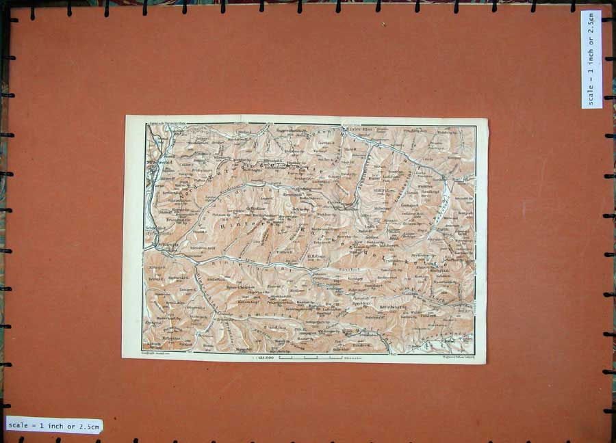 Print 1927 Colour Map Tyrol Dolomites Mittenwald Scharnitz 147D133 Old Original