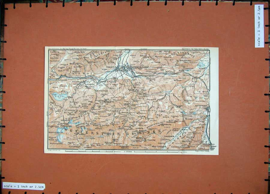 Print 1927 Colour Map Zugspitze Mittenwald Garmisch Wamberg 150D133 Old Original