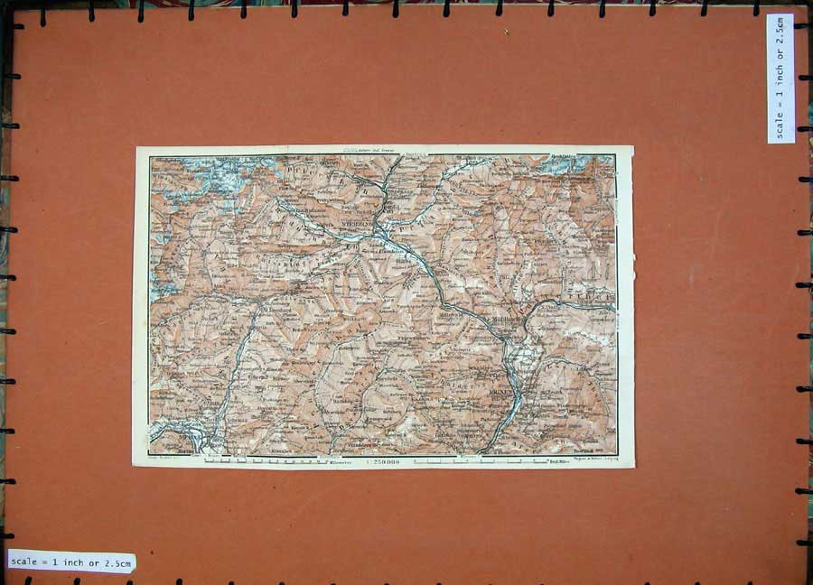Print Colour Map 1927 Tyrol Dolomites Brixen Stebzing Melan 153D133 Old Original