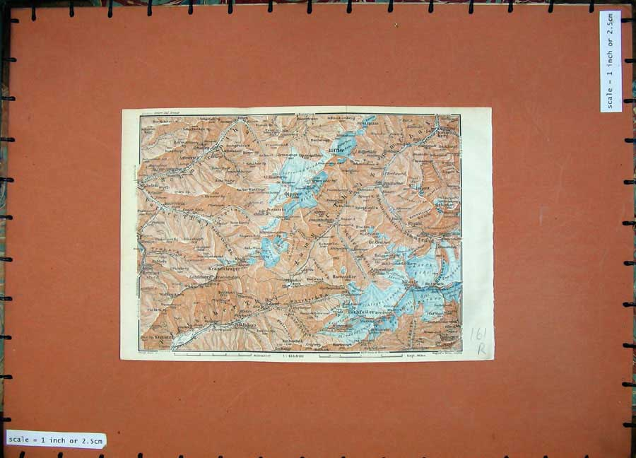 Print 1927 Colour Map Tyrol Dolomites Prettau Mosele Jakob 161Rd133 Old Original