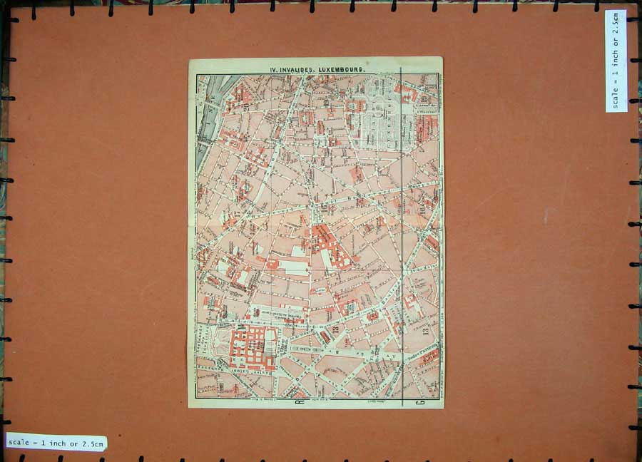 Print 1924 Colour Map Street Plan Invalides Luxembourg France 131D134 Old Original