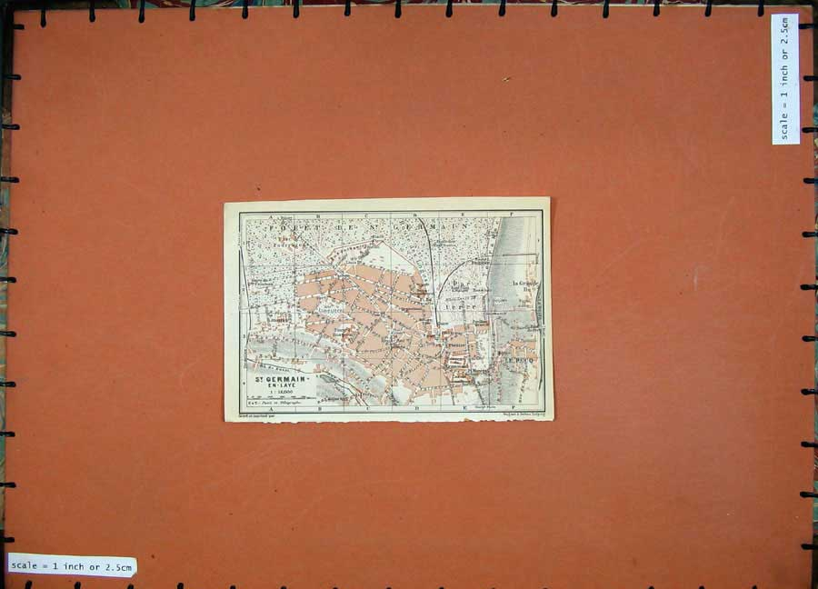 Print 1924 Colour Map Street Plan St Germain En-Laye France 146D134 Old Original
