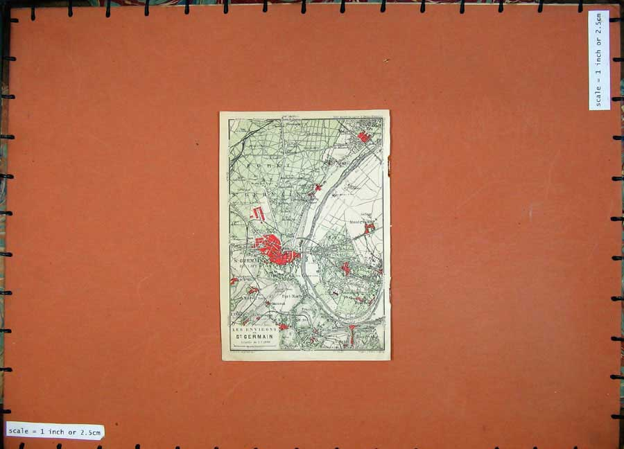 Print Colour Map 1924 France Plan St Germain Montesson Port 147D134 Old Original