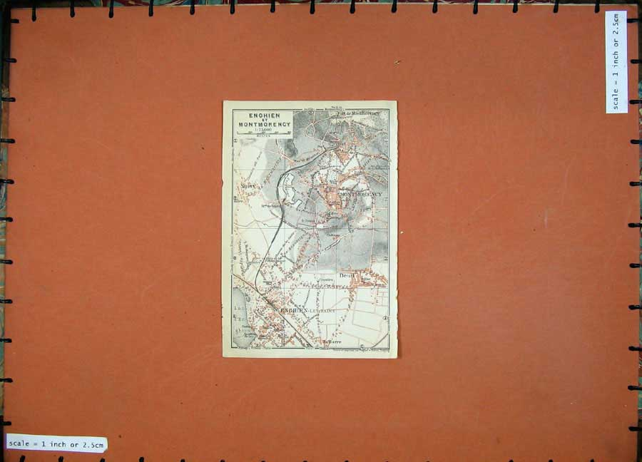 Print 1924 Colour Map Street Plan Enghien Montmorency France 149D134 Old Original