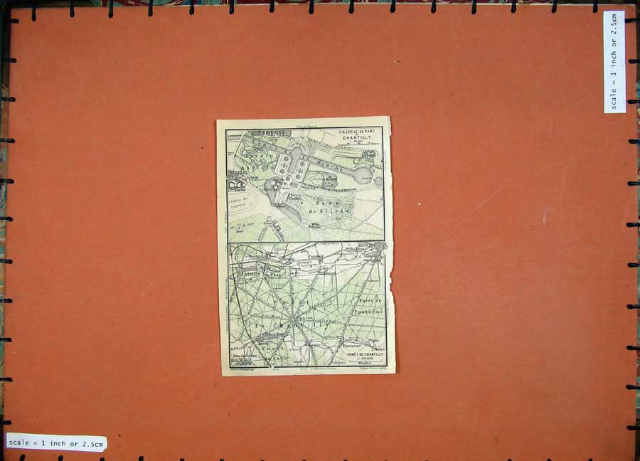 Print Colour Map 1924 Plan Chateau Chatilly France Foret Parc 152D134 Old Original