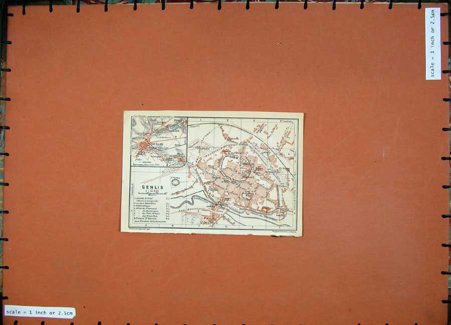 Print 1924 Colour Map Street Plan Senlis France Faub Martin 153D134 Old Original