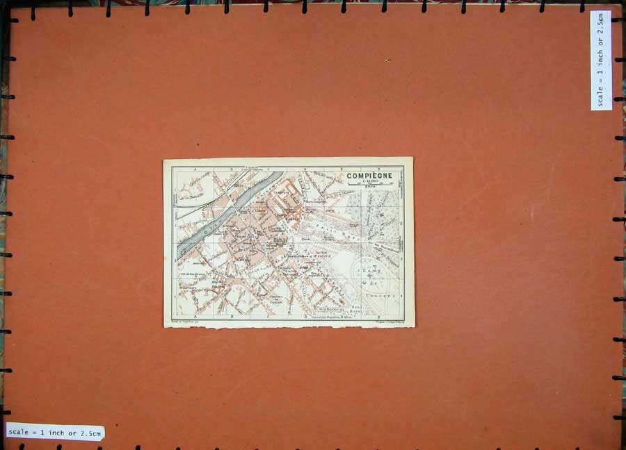 Print 1924 Colour Map Street Plan Compiegne France Oise Gare 154D134 Old Original