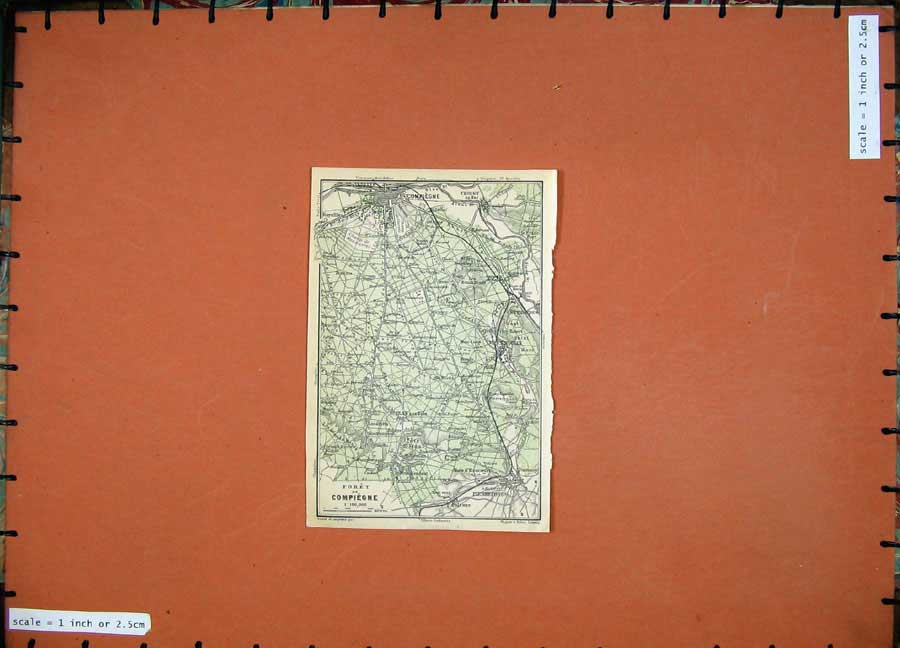Print 1924 Colour Map Plan Foret Compiegne France Pierrefonds 155D134 Old Original
