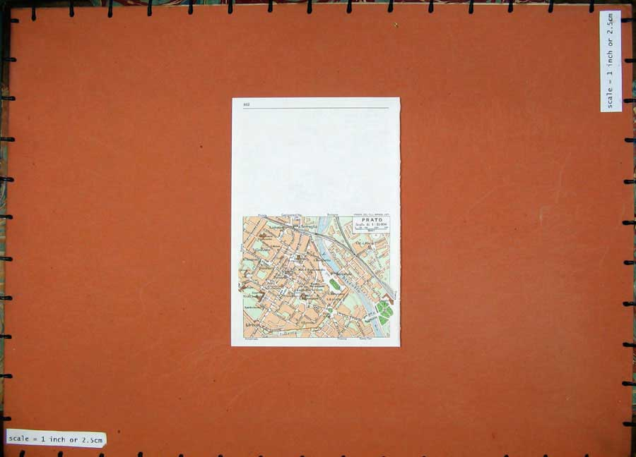 Print 1974 Colour Map Street Plan Pisotoia Italy Prato River 107Rd136 Old Original