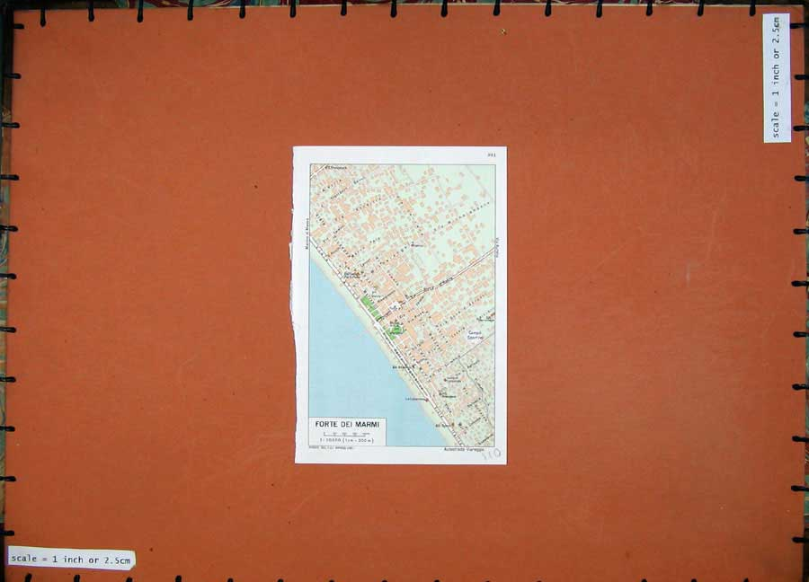 Print 1974 Colour Map Street Plan Forte Dei Marmi Italy 110D136 Old Original