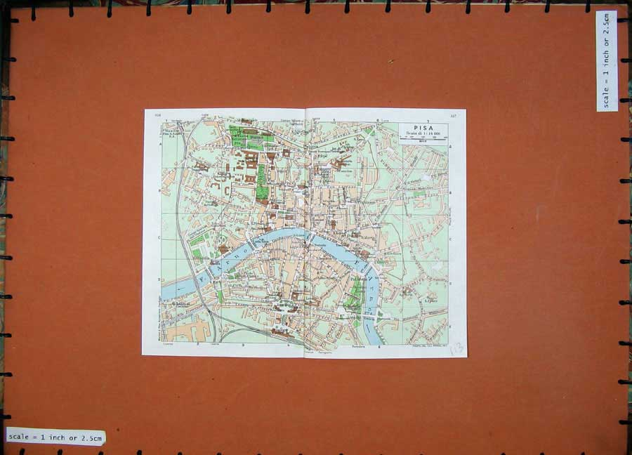 Print 1974 Colour Map Street Plan Pisa Italy Red Guide 113D136 Old Original