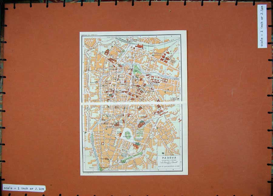 Print Colour Map Street Plan Padova Italy Veneto 1969 Tronco 209D137 Old Original