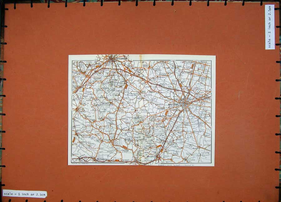Print 1969 Colour Map Italy Veneto Padova Vicenza Montagnana 210D137 Old Original