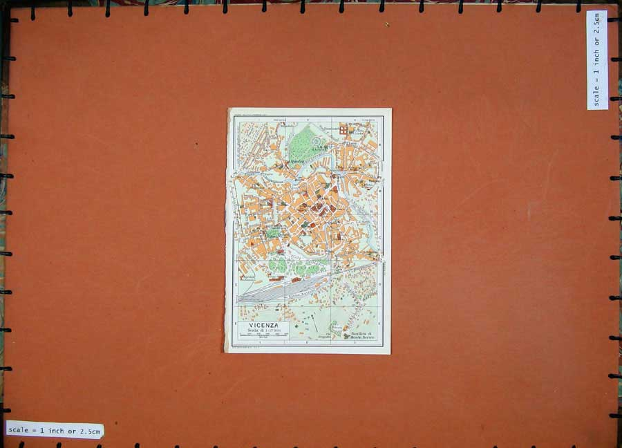 Print 1969 Colour Map Street Plan Vicenza Veneto Italy Fiume 217D137 Old Original