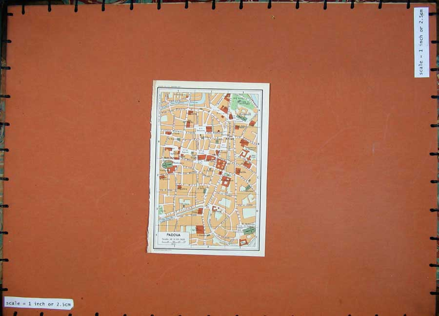 Print 1969 Colour Map Street Plan Padova Italy Veneto Fiume 218D137 Old Original