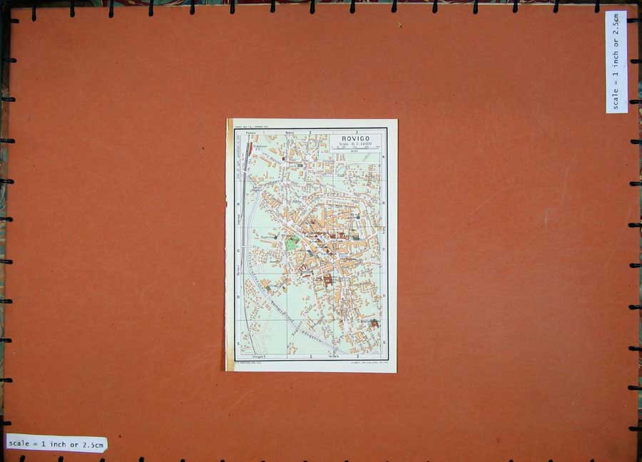 Print 1969 Colour Map Street Plan Rovigo Italy Veneto River 219D137 Old Original