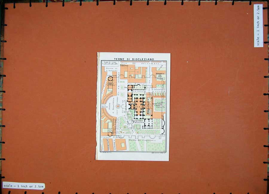 Print 1965 Colour Map Plan Terme Di Diocleziano Palestra 101D138 Old Original
