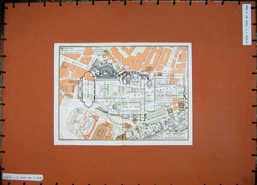 Print 1965 Colour Map Fori Imperiali Street Plan Roma Cesare 108D138 Old Original