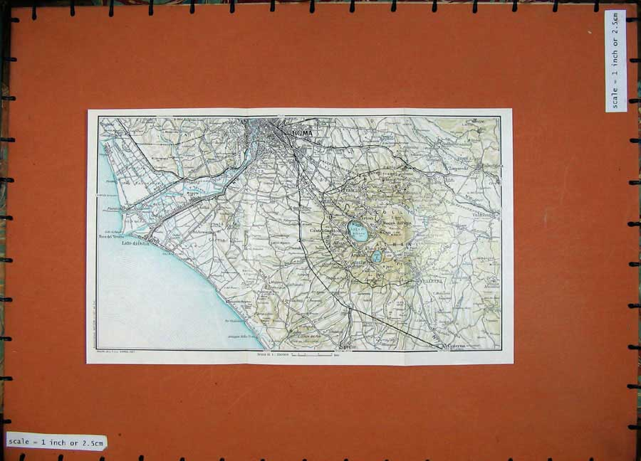 Print 1965 Colour Map Roma Velletri Lido Di Ostia Palestrina 122D138 Old Original