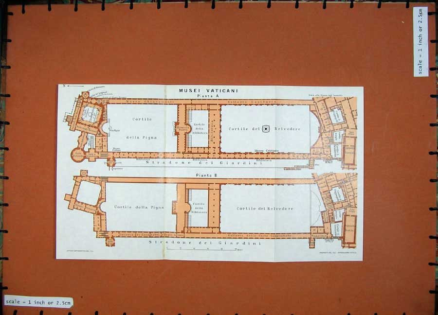 Print Colour Map 1965 Plan Musei Vaticani Roma Giardini Pigna 122Ad138 Old Original