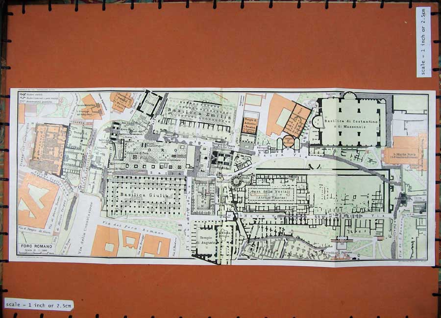 Print 1965 Colour Map Roma Foro Ramona Plan Dintorni Guide 124D138 Old Original