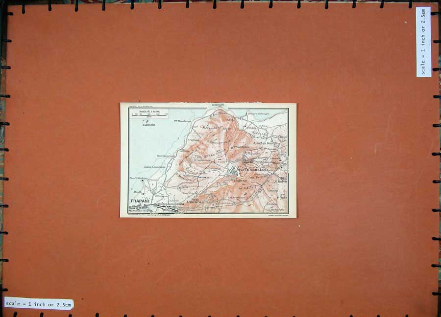 Print Colour Map Italy Trapani Monte Giuliano 1965 Europe 104D139 Old Original
