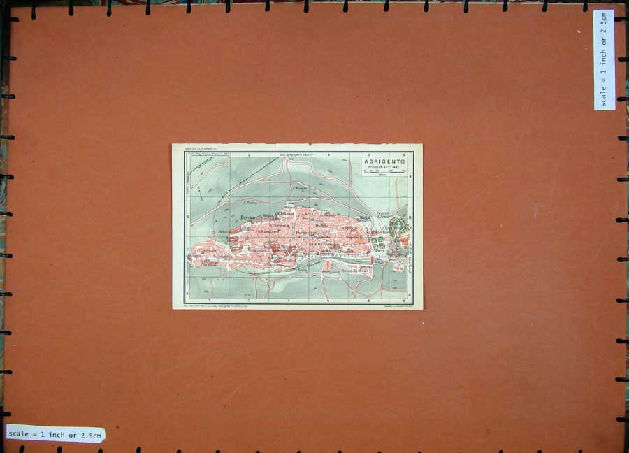 Print 1965 Colour Map Agrigento Italy Street Plan Europe 107D139 Old Original
