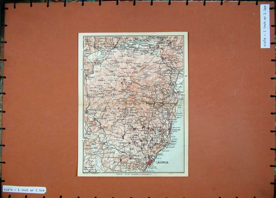 Print 1965 Colour Map Italy Catania Acireale Mount Etna 128D139 Old Original