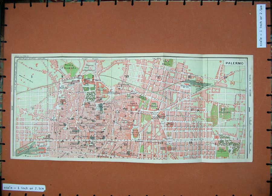 Print 1965 Colour Map Italy Street Plan Palermo Europe Roma 133D139 Old Original