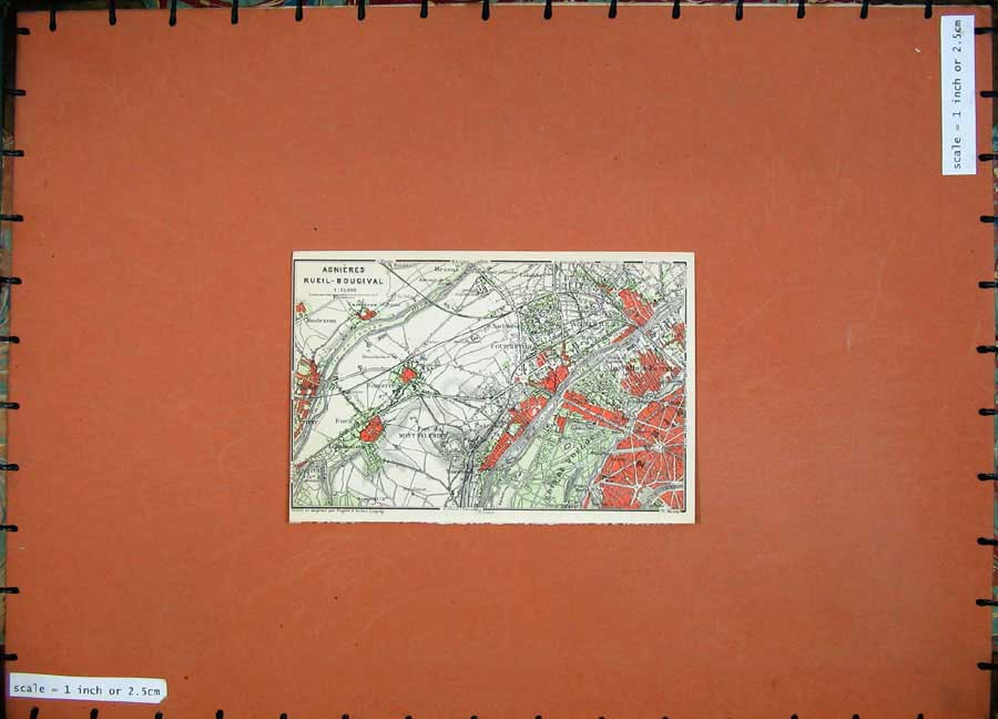 Print 1907 Colour Map Asnieres Rueil Bougival France Plan 204D141 Old Original
