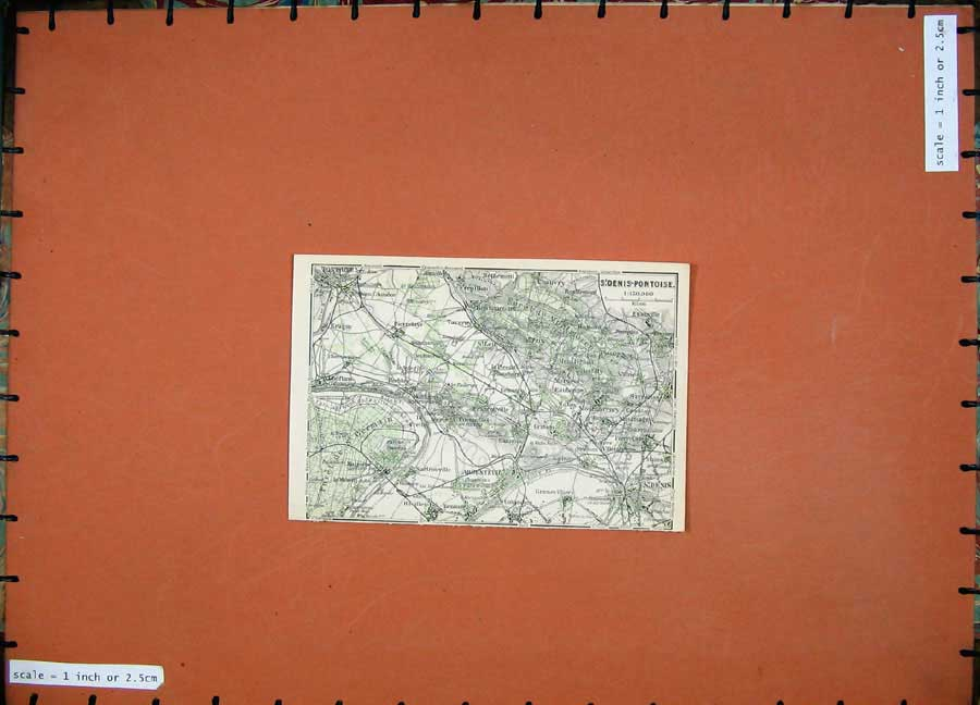 Print 1907 Colour Map St Denis Pontoise France Prix Chauvry 209D141 Old Original