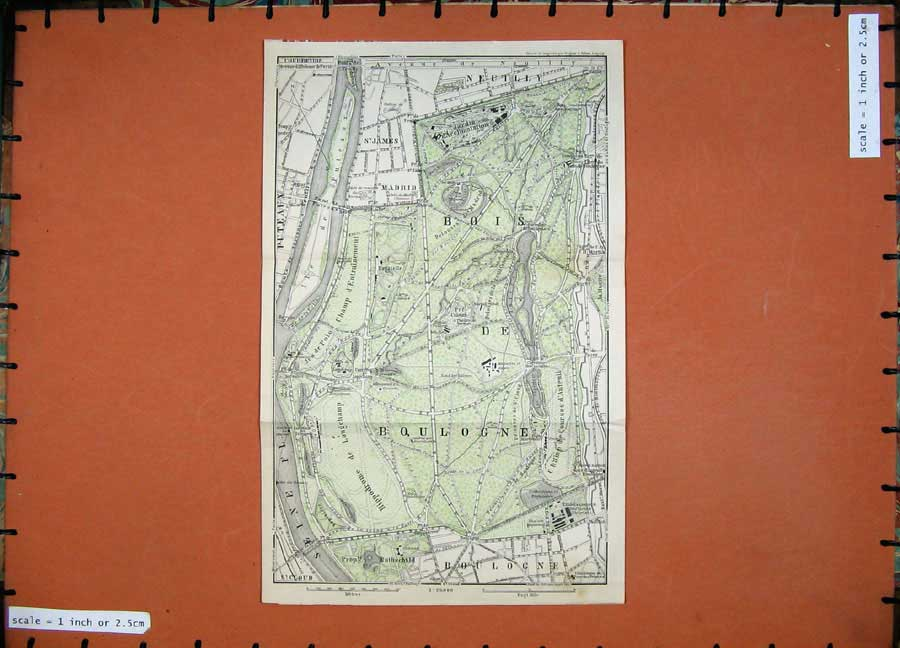 Print 1907 Colour Map France Street Plan Bois Boulogne Paris 222D141 Old Original
