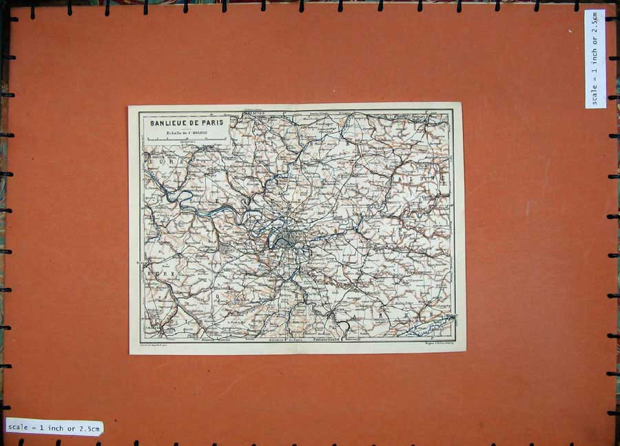 Print 1907 Colour Map France Banlieue De Paris Versailles 229D141 Old Original