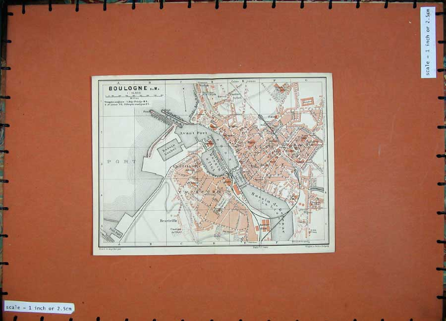 Print 1907 Colour Map France Street Plan Boulogne Avant Port 231D141 Old Original