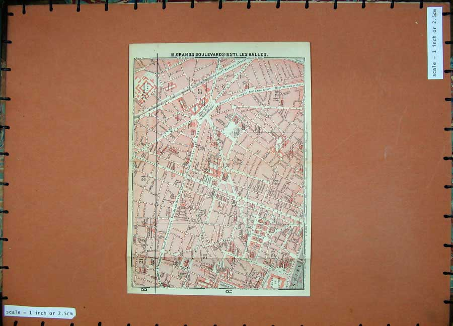 Print 1907 Colour Map France Boulevards Les Halles Siene 239D141 Old Original