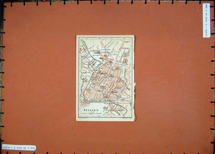 Print 1909 Colour Map Street Plan Beavais Northern France 104D142 Old Original
